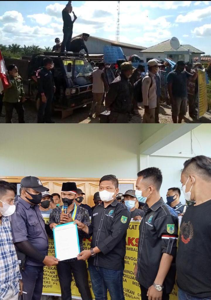 Ratusan aksi Massa Geruduk  PT. JJP Kembalikan Lahan Warga  600 Hektar