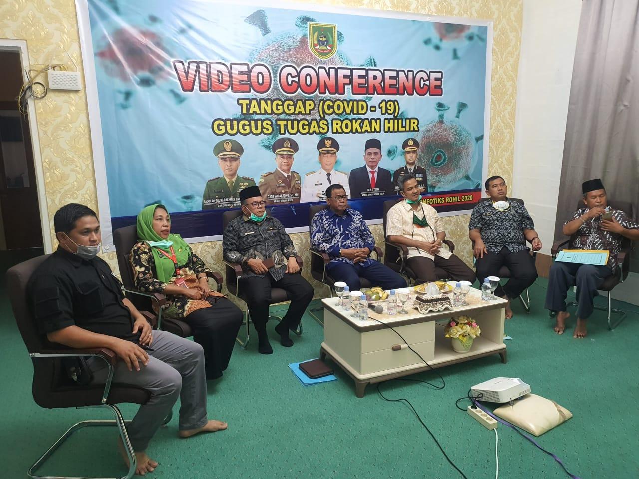Bupati Rohil Gelar Rakor Bersama Beberapa Menteri Terkait Implementasi PSBB