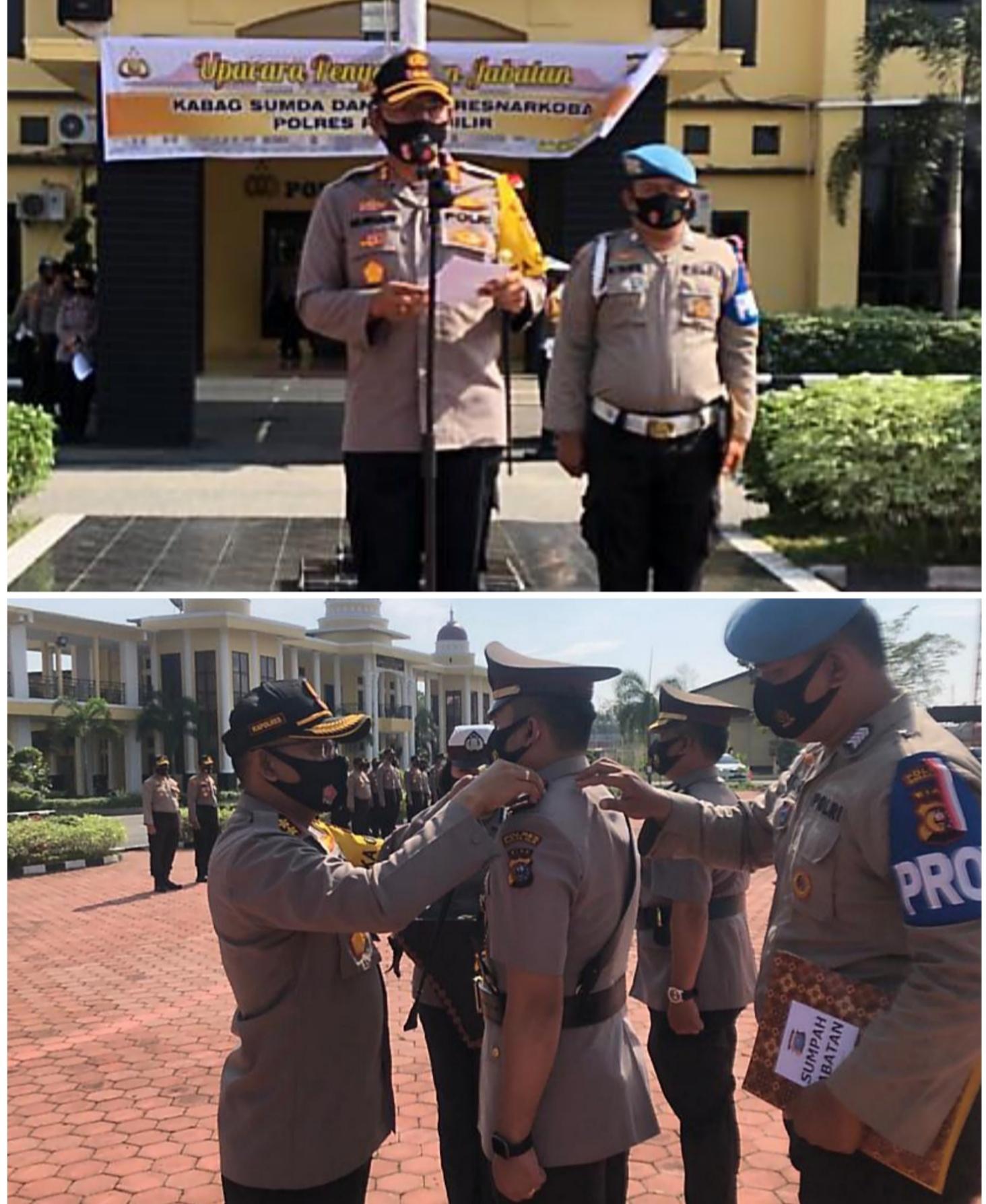 Dua Pejabat Utama Polres Rohil Serah Terima Jabatan