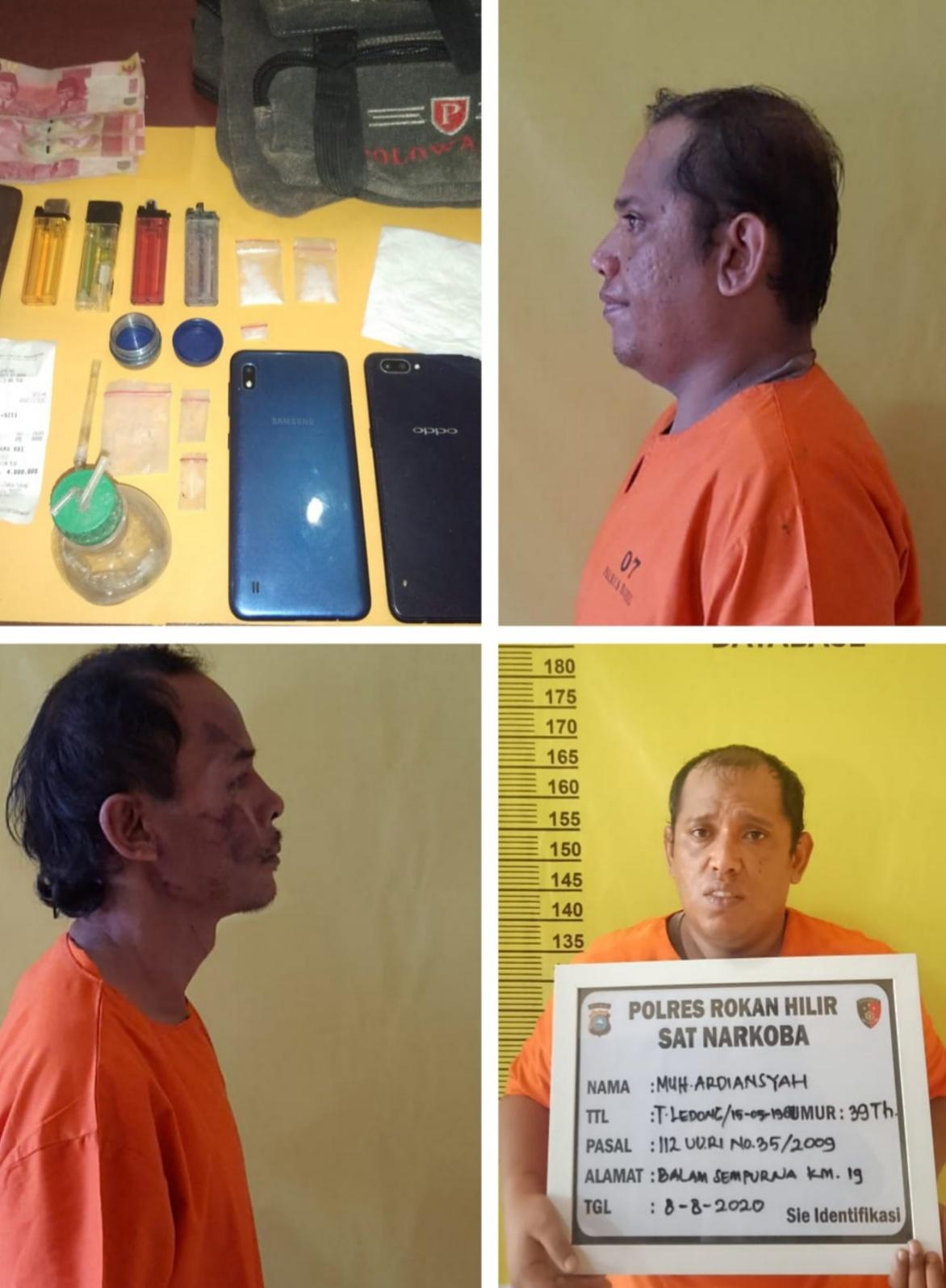 Tiga Orang Pria di Bekuk Sat Narkoba Polres Rohil Saat Transaksi Sabu di Belakang Gubuk