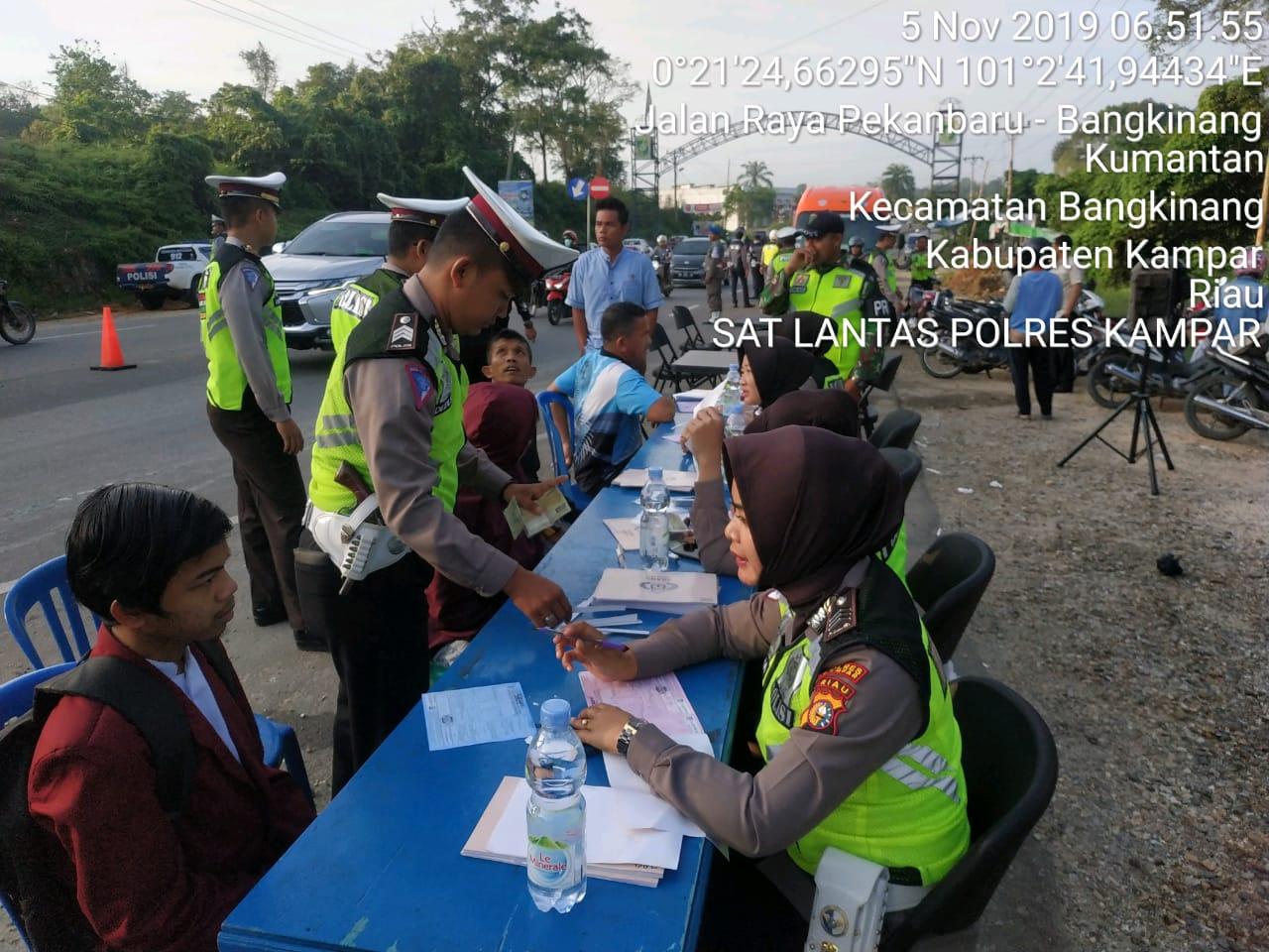 Operasi Zebra Muara Takus 2019, Jajaran Polres Kampar Tilang 1.640 Pelanggar