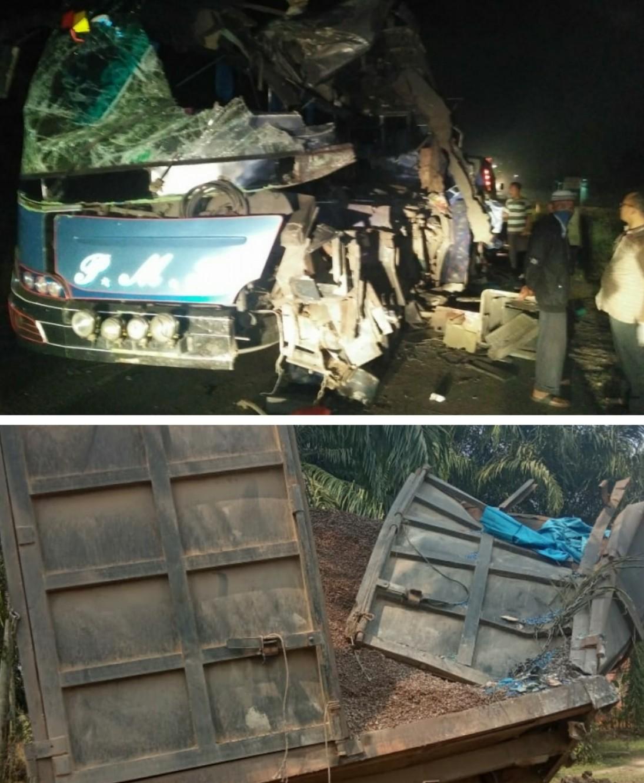 Hantam Truk Parkir, Penumpang Bus PMH  6 Orang Tewas 8 Luka Luka