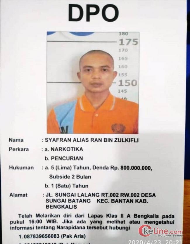 Dua Kabur, Satu Tahanan Lapas Bengkalis Berhasl Diamankan