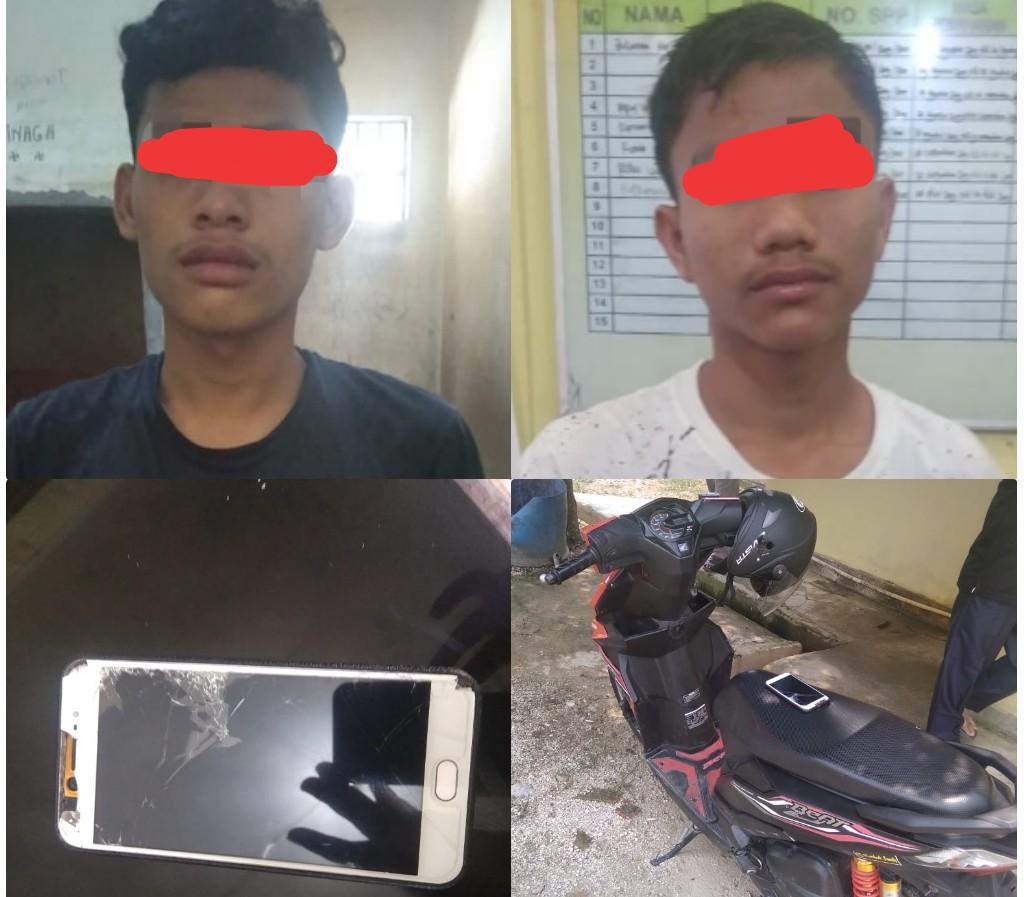 Diduga Jambret HP dan Tendang Motor Korban, 2 Pria Ini Serahkan Warga ke Polisi