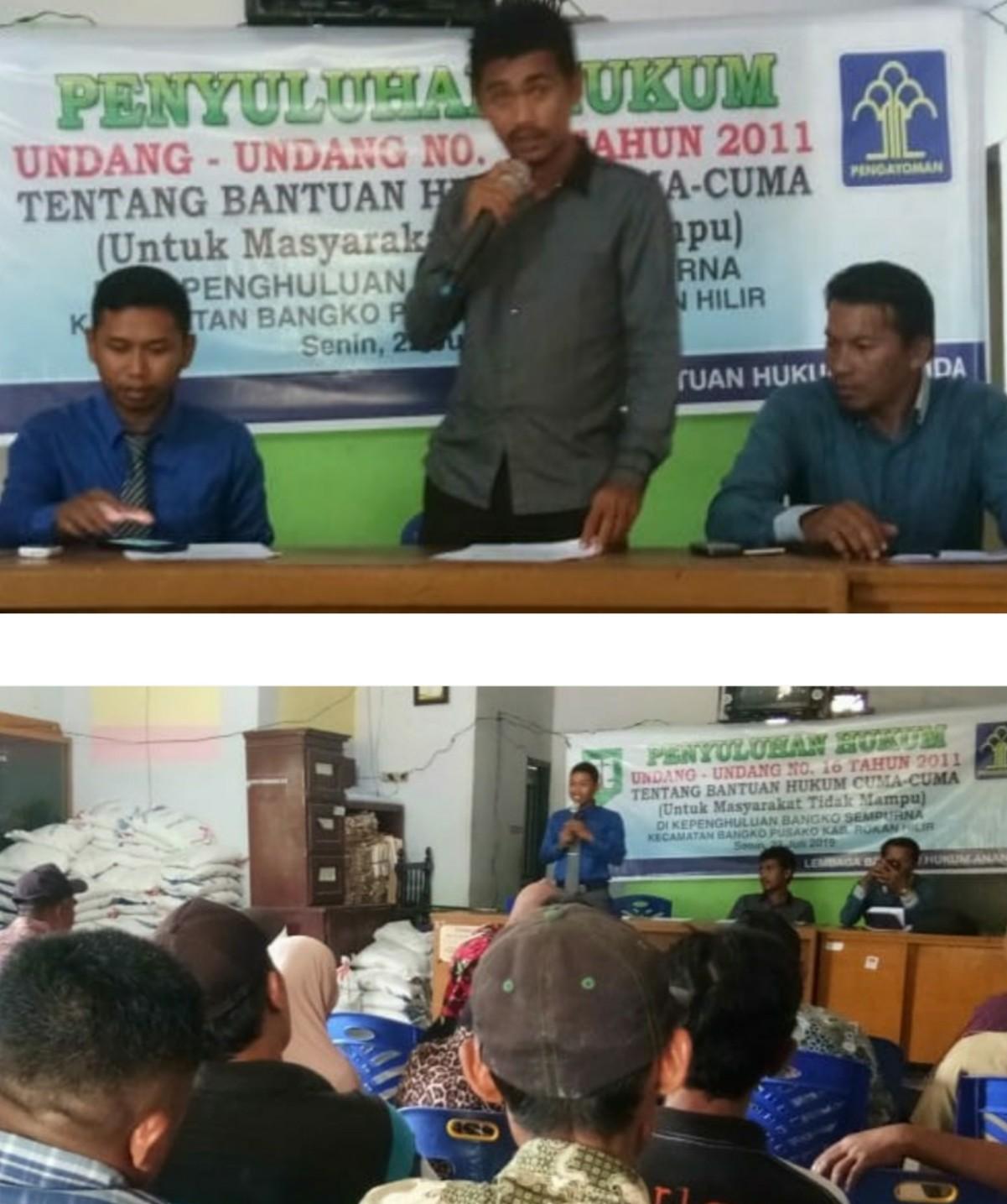 LBH Ananda Berikan Penyuluhan Tentang Bantuan Hukum Gratis Pada Warga Miskin Di Bangko Sempurna