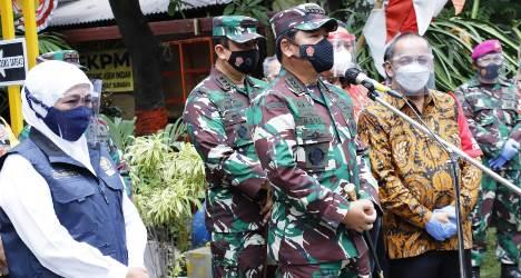 Tinjau Pelaksanaan PPKM Skala Mikro di Surabaya, Panglima TNI: Bombardir 210 RT