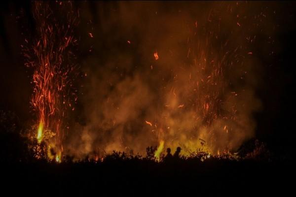 Lahan Desa Tambak Terbakar. Terpantau 3 Titik Menyala