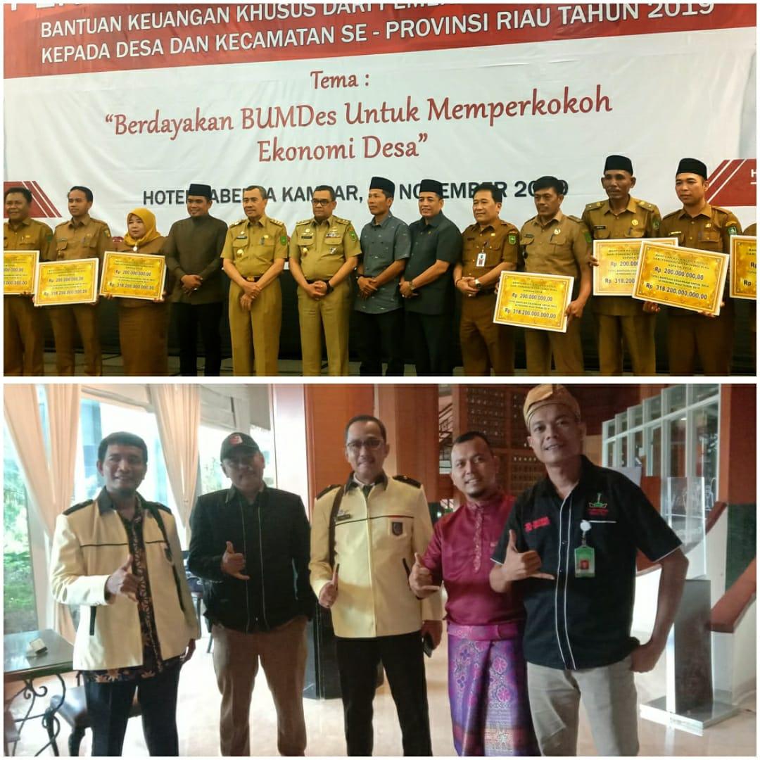 Ketum DPP LSM Peduli SDM Prov Riau dan APDESI Riau Hadiri Penyerahan Bantuan Keuangan Untuk Desa
