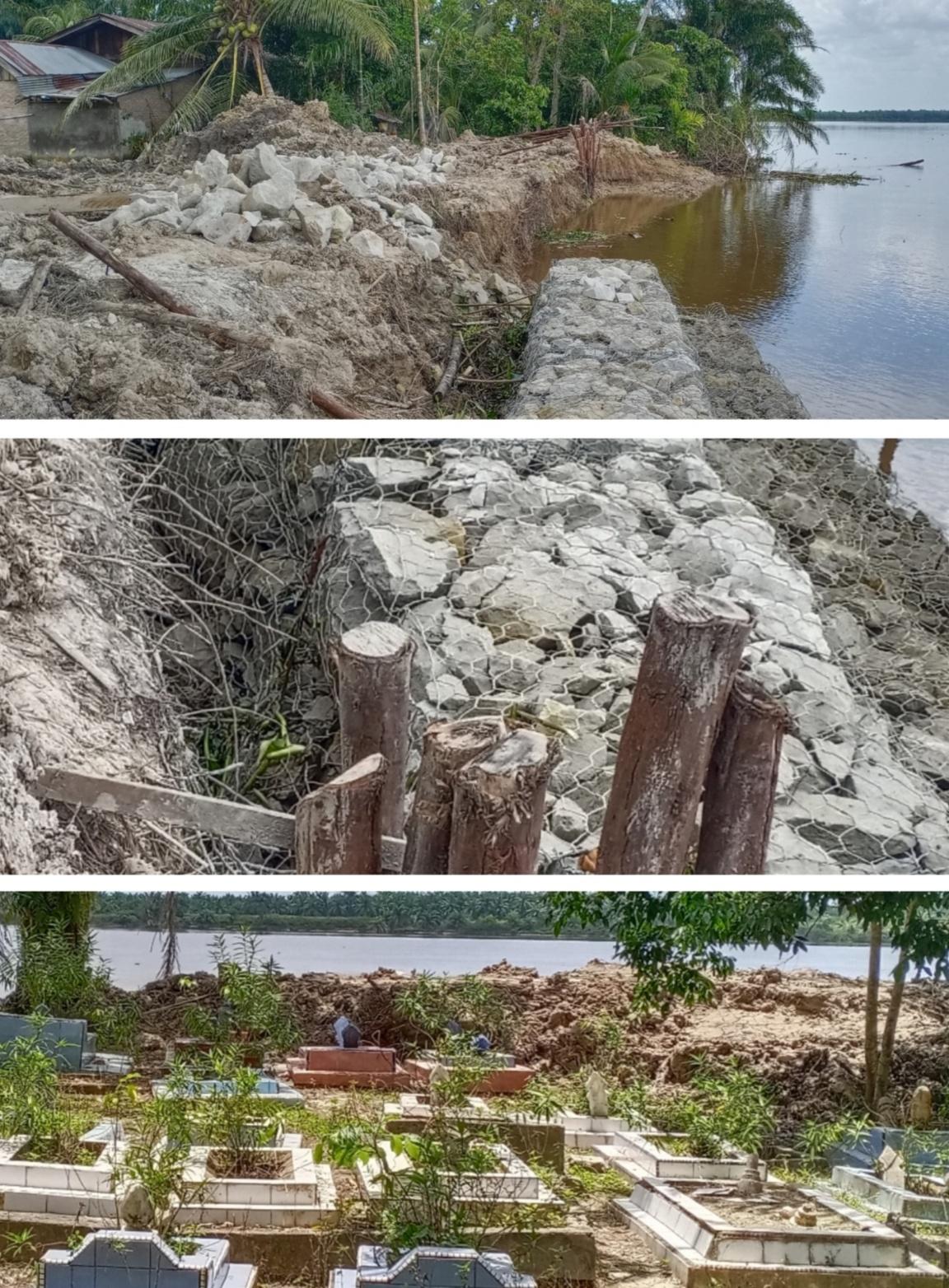 Bangunan Penyangga Abrasi Makam Umum Orang Tua Gubri di Jumrah, Terpaksa Dihentikan Warga