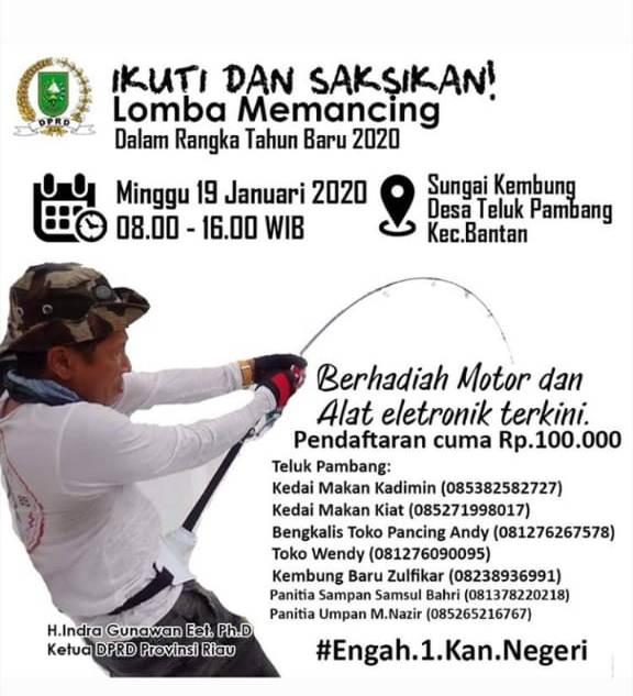 Bangun Kebersamaan, Ketua DPRD Riau, H.Indra Gunawan Bersama BUMDES 2 Desa Adakan Lomba Memancing