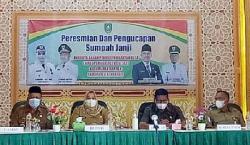 Buapati Kasmarni Hadiri Pelantikan Kepala BPD Desa Bantan, Bengkalis