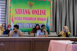 Perdana, Pelaku Pelanggar PSBB di Kota Pekan Baru Disidang Secara Online
