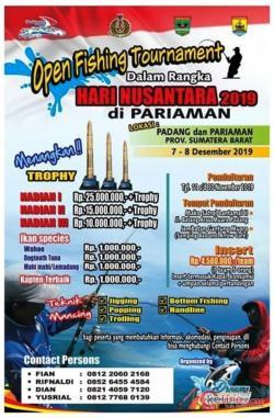 Hari Nusantara 2019, Lantamal II Padang Adakan Open Fishing Tuornament di Pariaman