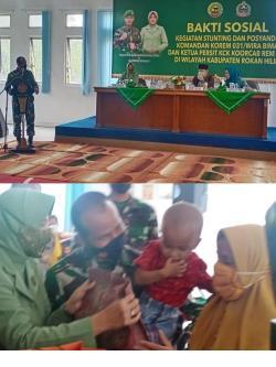 Peduli Kesehatan Ibu dan Anak Danrem 031/WB, Gelar Bhakti Sosial Stunting dan Posyandu di Rohil