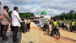 Bupati Irwan Lepas Penyaluran Bansos Covid-19 Polres Meranti