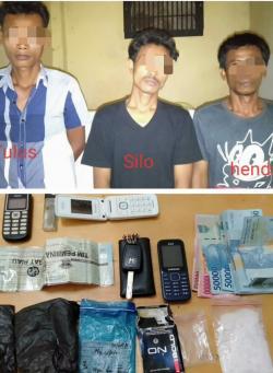 Polsek Rimbo Melintang Ringkus Tiga Pria Bawa Sabu 25 Gram dari Pekan Baru