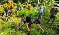 Satgas Pamtas Yonif 642 Bersama Warga Dusun Paub Bersihkan Makam