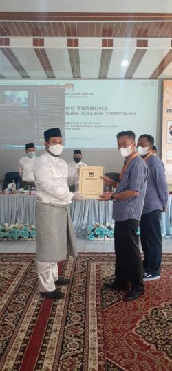 Afrizal Sintong - Sulaiman Ditetapkan KPU Sebagai Pemenang Pilkada Rohil
