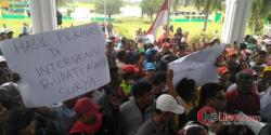 Kepala Desa Terpilih Tak Dilantik, Ratusan warga Desa Perbangunan Grudak DPRD Asahan